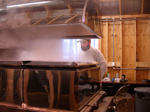 Boiling sap in to Maple syrup